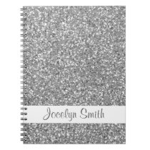 Silver Glitter Look-like And Name Notebook