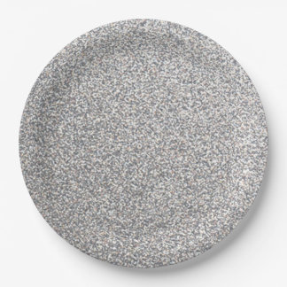 Silver glitter look paper plates