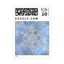 Silver Glitter Look Snowflake Postage Stamp