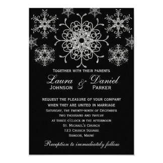 Silver Glitter LOOK Snowflakes Wedding Invite