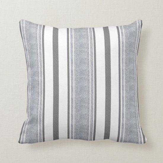 Silver Glitter Look Stripes Pattern | Throw Pillow
