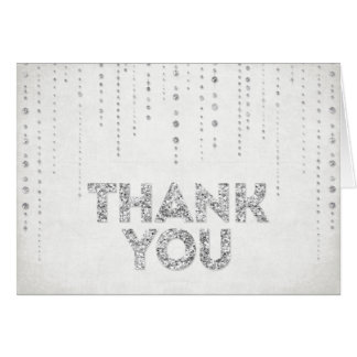 SIlver Glitter Look Thank You Card