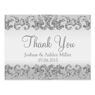Silver Glitter Look Thank You Postcard