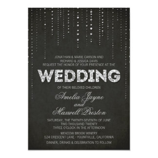 Silver Glitter Look Wedding Invitation