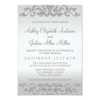 Silver Glitter Look Wedding Invitations
