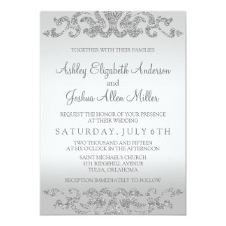 Marvelous Silver Glitter Look Wedding Invitations