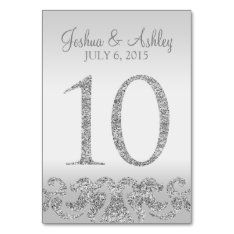 Silver Glitter Look Wedding Table Numbers-10 Card at Zazzle