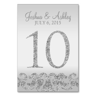 Silver Glitter Look Wedding Table Numbers-10 Table Number