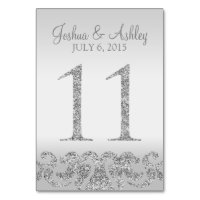 Silver Glitter Look Wedding Table Numbers-11 Card