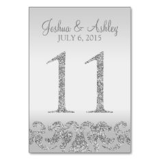 Silver Glitter Look Wedding Table Numbers-11 Card at Zazzle