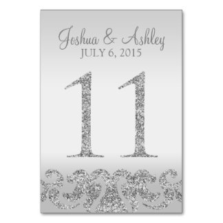 Silver Glitter Look Wedding Table Numbers-11 Table Number