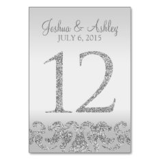 Silver Glitter Look Wedding Table Numbers-12 Card at Zazzle