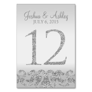 Silver Glitter Look Wedding Table Numbers-12 Table Number