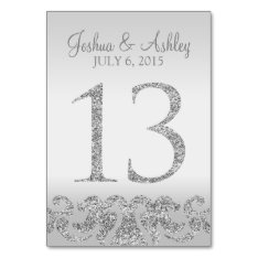 Silver Glitter Look Wedding Table Numbers-13 Card at Zazzle
