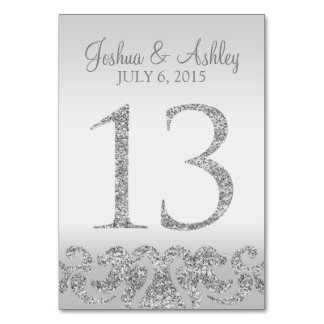 Silver Glitter Look Wedding Table Numbers-13 Card