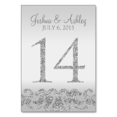 Silver Glitter Look Wedding Table Numbers-14 Card at Zazzle
