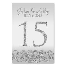 Silver Glitter Look Wedding Table Numbers-15 Card