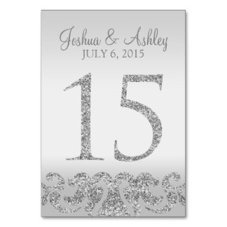 Silver Glitter Look Wedding Table Numbers-15 Table Number