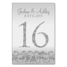 Silver Glitter Look Wedding Table Numbers-16 Card at Zazzle