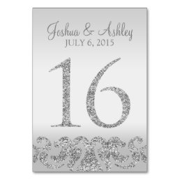 Silver Glitter Look Wedding Table Numbers-16 Card
