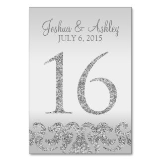 Silver Glitter Look Wedding Table Numbers-16 Table Number