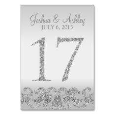 Silver Glitter Look Wedding Table Numbers-17 Card at Zazzle