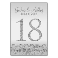 Silver Glitter Look Wedding Table Numbers-18 Card at Zazzle