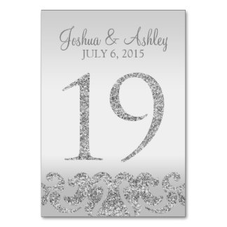 Silver Glitter Look Wedding Table Numbers-19 Card
