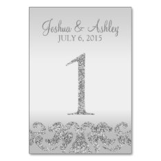 Silver Glitter Look Wedding Table Numbers-1 Card at Zazzle