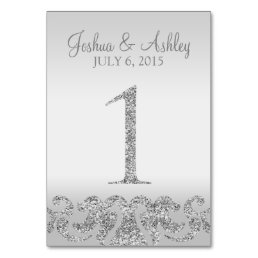 Silver Glitter Look Wedding Table Numbers-1 Card