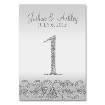 cardeddesigns Silver Glitter Look Wedding Table Numbers-1 Card