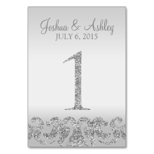 Silver Glitter Look Wedding Table Numbers 1 Number