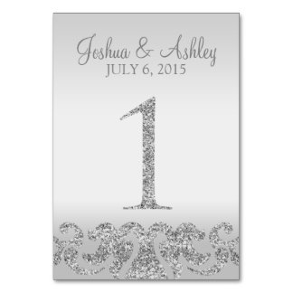 Silver Glitter Look Wedding Table Numbers-1 Table Number