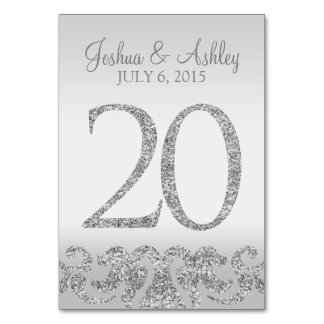 Silver Glitter Look Wedding Table Numbers-20 Card