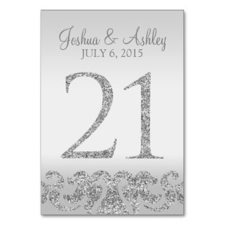 Silver Glitter Look Wedding Table Numbers-21 Card