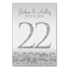Silver Glitter Look Wedding Table Numbers-22 Card