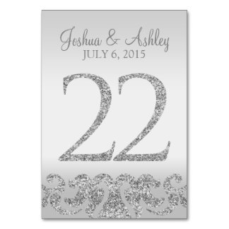 Silver Glitter Look Wedding Table Numbers-22 Table Number