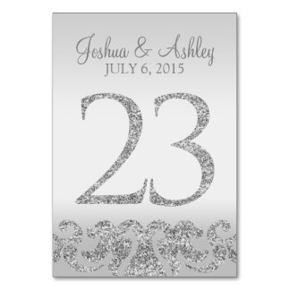 Silver Glitter Look Wedding Table Numbers-23 Card