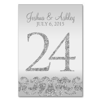 Silver Glitter Look Wedding Table Numbers-24 Card