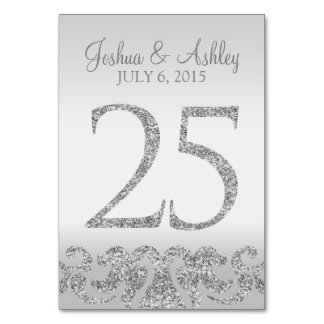 Silver Glitter Look Wedding Table Numbers-25 Card
