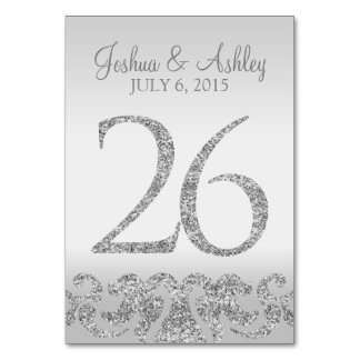 Silver Glitter Look Wedding Table Numbers-26 Table Number
