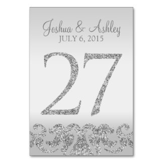 Silver Glitter Look Wedding Table Numbers-27 Table Number