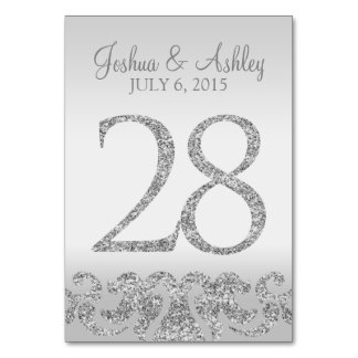 Silver Glitter Look Wedding Table Numbers-28 Table Number