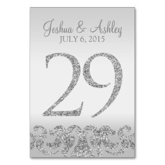 Silver Glitter Look Wedding Table Numbers-29 Table Number