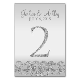 Silver Glitter Look Wedding Table Numbers-2 Table Number