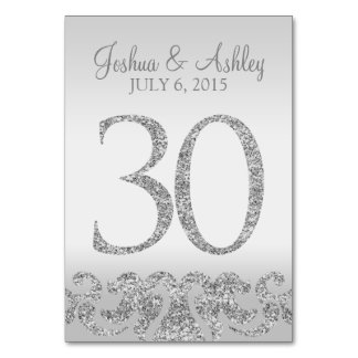Silver Glitter Look Wedding Table Numbers-30 Card