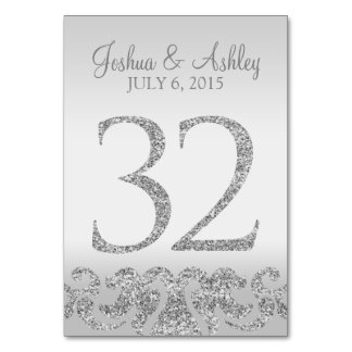 Silver Glitter Look Wedding Table Numbers-32 Card