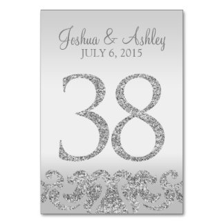 Silver Glitter Look Wedding Table Numbers-38 Card