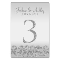 Silver Glitter Look Wedding Table Numbers-3 Card