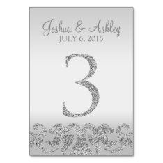 Silver Glitter Look Wedding Table Numbers-3 Card at Zazzle